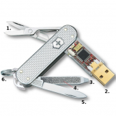 Victorinox SwissMemory Swiss Army Knife - 1GB Flash Drive - Silver Alox