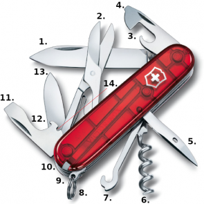 Victorinox Climber Swiss Army Knife - Transparent Red