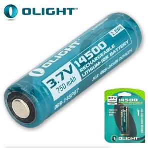 Olight 14500 3.7V Rechargeable Lithium-Ion Battery - 750mAh